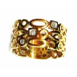 Anillo de oro de 18 kl ancho con circonitas - 156400