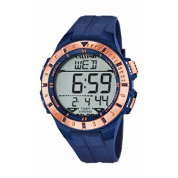 Reloj cronómetro para caballero de Calypso con caja redonda y correa de caucho azul - K5607/7