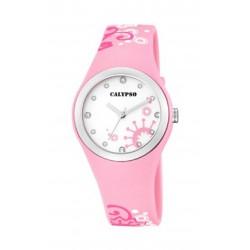 Reloj Calypso analogio con correa de caucho color rosa - K5631/5