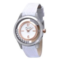 Reloj Kennet Cole analógico con correa de piel blanca - IKC2785