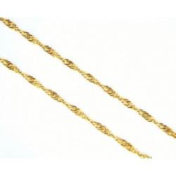 Cadena de oro de 18 kl con malla singapur  de 45 cms y cierre de mosquetón - SG45/5.60