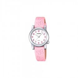 Reloj anlógico Calypso con esfera blanca redonda y correa rosa con Mariposas K5711/2
