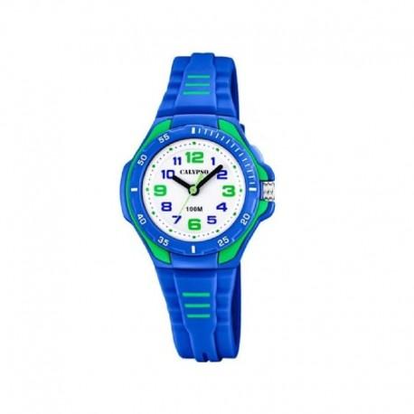 Reloj Calypso análogico con esfera redonda y correa azul con motivos verdes K5757/4