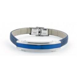 Pulsera Lotus Style acero y cuero azul marino.Ls1809/2/2