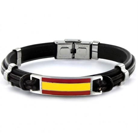 Pulsera en cuero bicolor con bandera España 9100925