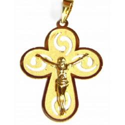 Cruz de oro de 18 kl acabado mate y brillo - 1060056/1.1