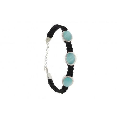 Pulsera macramé en negro con tres piedras en color azul 25200009
