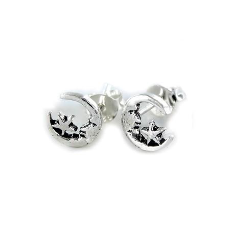 Pendientes de plata con luna y estrella.