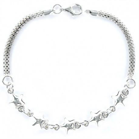 Pulsera de plata con cinco estrellas de ocho milimetros.