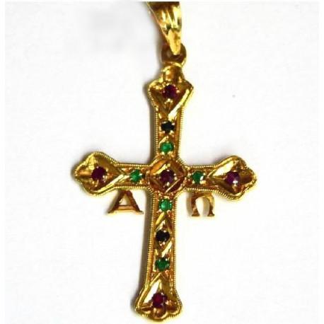 Cruz de la Victoria de oro de 18 kl con rubies y esmeraldas - -90457-OR