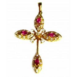 Cruz de oro de 18 kl con circonitas y rubíes - -55171-X