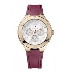 Reloj Tommy Hilfiger multifunción con correa de caucho color granate - 1781331