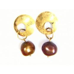 Pendientes oro con perla en...