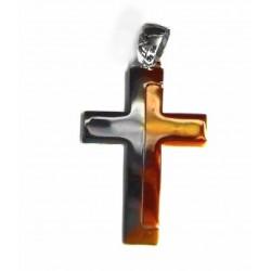 Cruz de oro bicolor -...