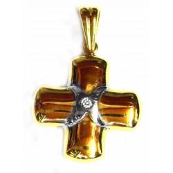 Cruz de oro bicolor de 18...