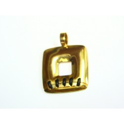 Colgante oro y cuero 35095