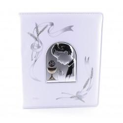 Albúm de polipiel para comunión con motivo de plaqué de plata Niño - 15766M/20X25