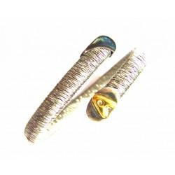 Pulsera tipo torques de acero, plata y oro en inical A - 53374