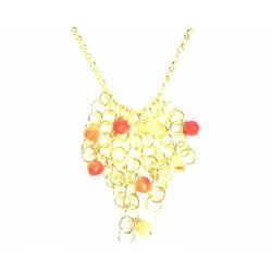 Collar de plata dorada con anillas grandes y piedras color ámbar - 7/263